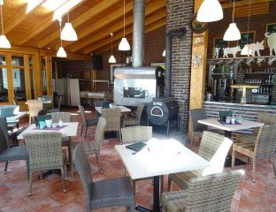 Kaminofen und Grill im Hofcafe